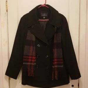 London Fog Double Breasted Peacoat & Scarf Set